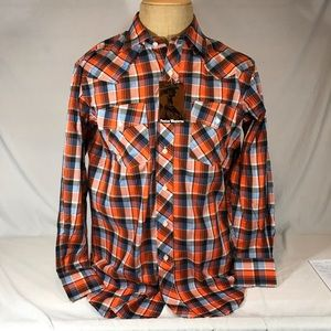 Fenton Western Button Front Shirt Red Plaid 16 33